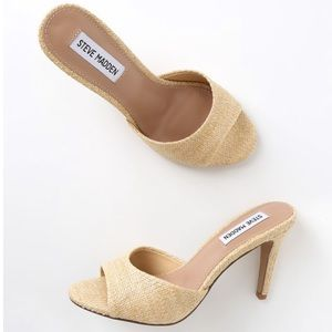 Steve Madden Erin Natural Raffia High Heel Sandals
